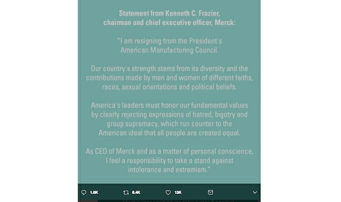 Ken Frazier Merck Trump statement Twitter