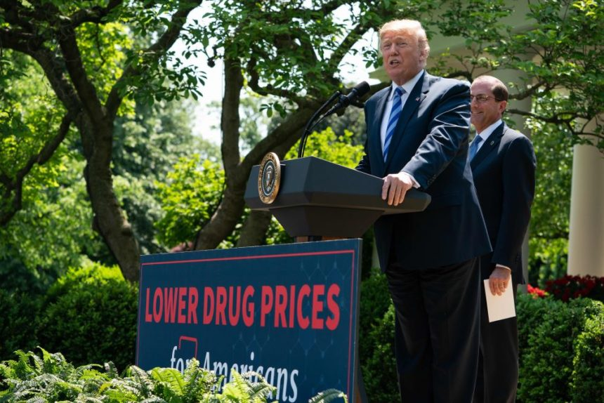 donald trump, alex azar, drug prices